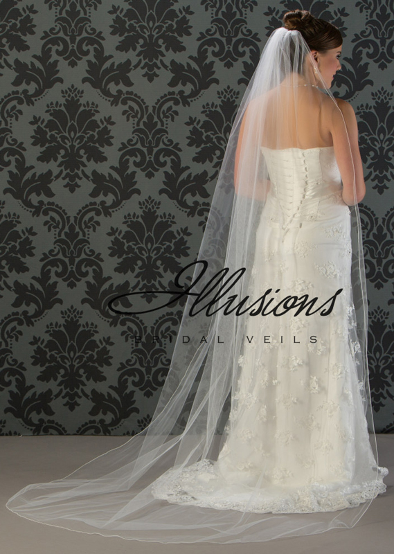 Illusions Bridal Corded Edge Veil 7-901-C: Ivory, Rhinestone Accent