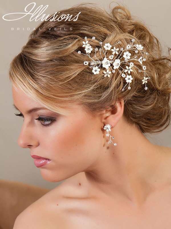 Illusions Bridal Hair Accessories with Flower 8214