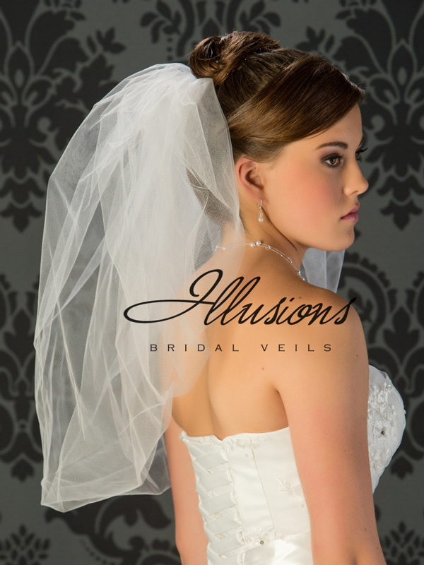 Illusions Bridal Bubble Cut Veil B7-25: Pearl Accent