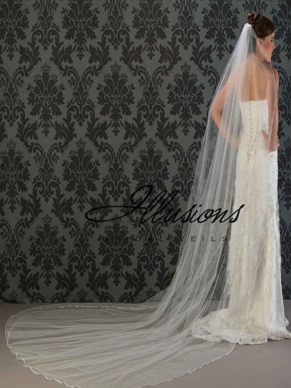 Illusions Bridal Ribbon Edge Wedding Veil C1-1201-1R: Cathedral Length