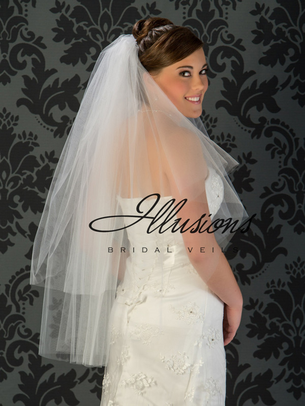 Illusions Bridal Cut Edge Veil C1-362-CT: Rhinestone Accent