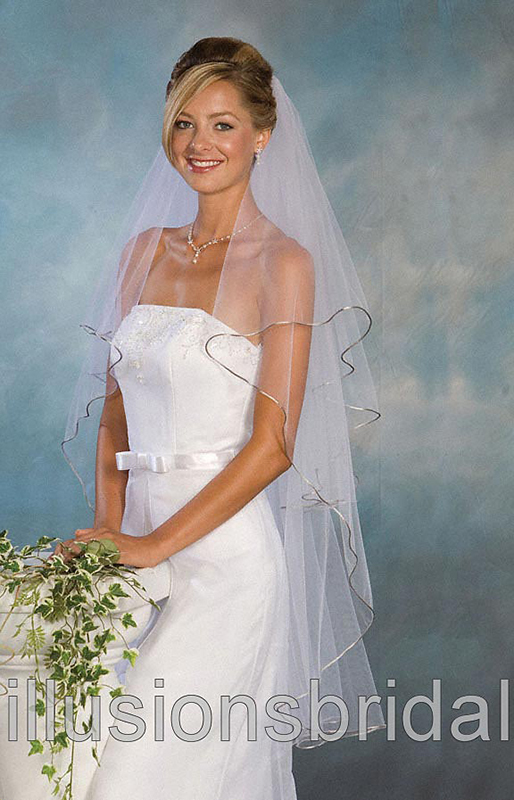 Illusions Bridal Colored Veils and Edges C1-452-RT-AS: Rhinestone Accents