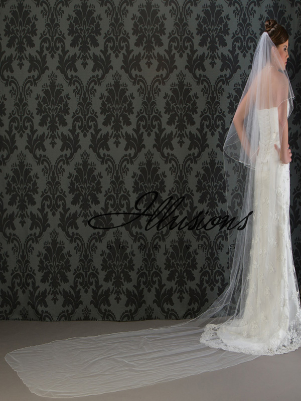 Illusions Bridal Corded Edge Veil C5-1442-C: Rhinestone Accent