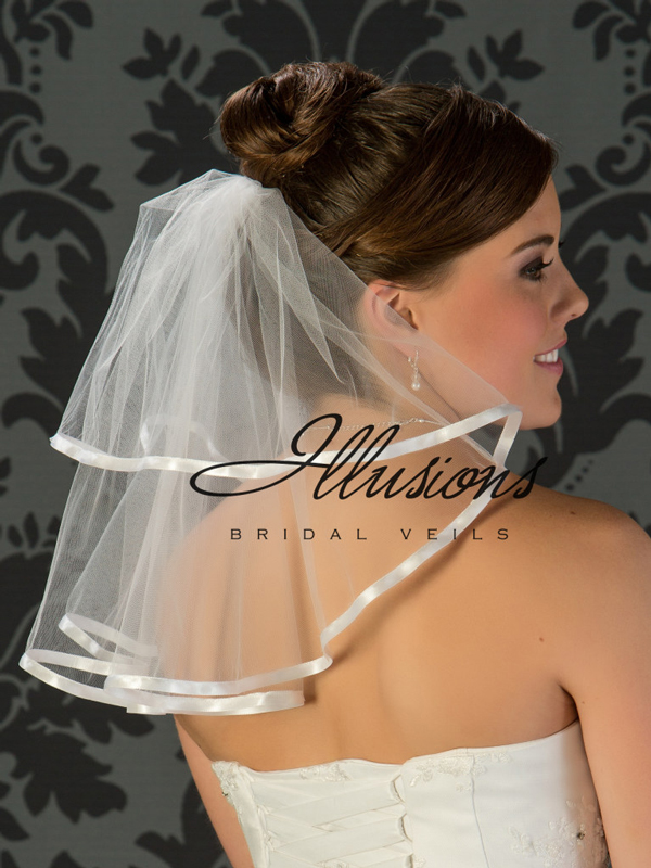 Illusions Bridal Ribbon Edge Wedding Veil C5-152-3R: Pearl Accent, 2 Tier