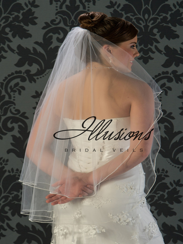 Illusions Bridal Pearl Edge Veil C5-362-P: Rhinestone Accent