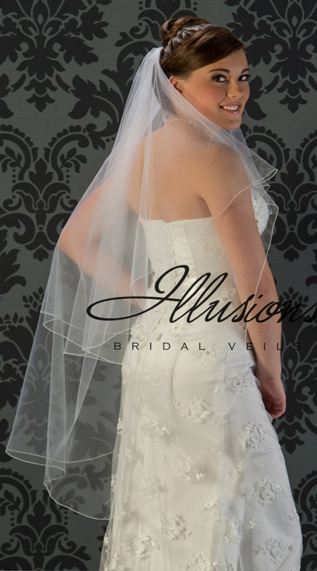 Illusions Bridal Corded Edge Veil C5-452-C: Rhinestone Accent