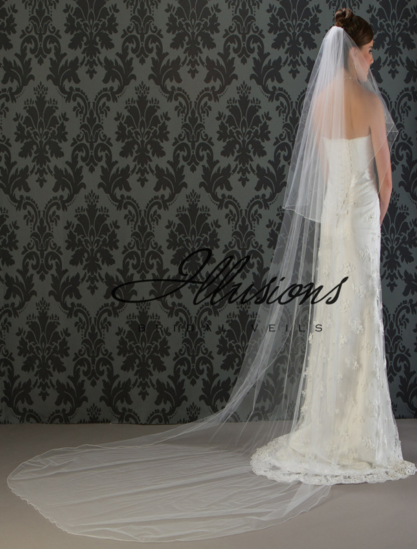 Illusions Bridal Corded Edge Veil C7-1202-C: Rhinestone Accent