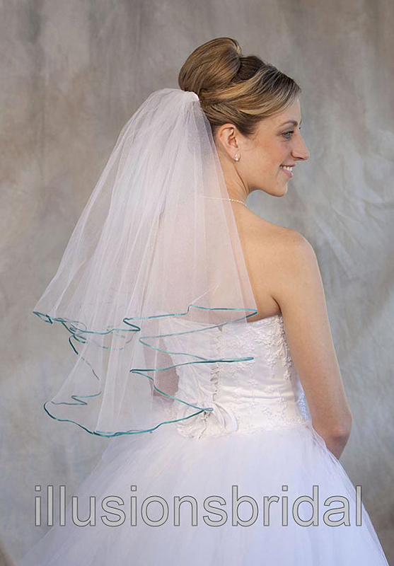 Illusions Bridal Colored Veils and Edges C7-252-1R-AQ