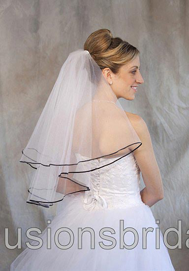 Illusions Bridal Colored Veils and Edges C7-252-1R-BK