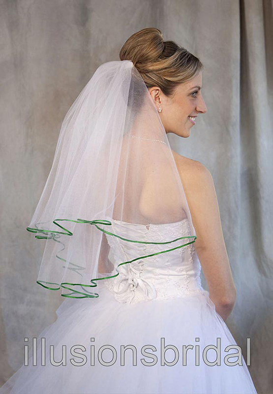 Illusions Bridal Colored Veils and Edges: Emerald Ribbon Edge