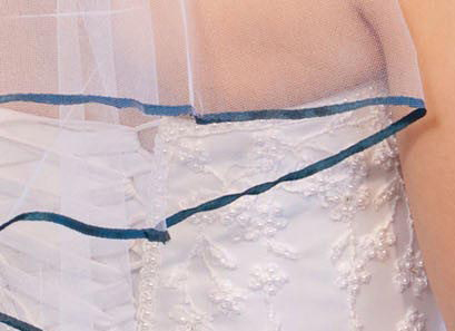 Illusions Bridal Colored Veils and Edges: Teal Ribbon Edge