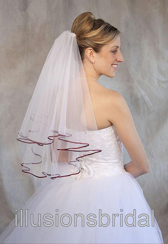 Illusions Bridal Colored Veils and Edges: Wine Ribbon Edge