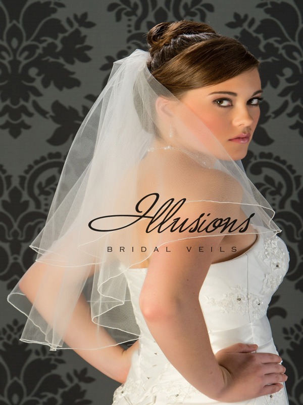 Illusions Bridal Corded Edge Veil C7-252-C: Rhinestone Accent