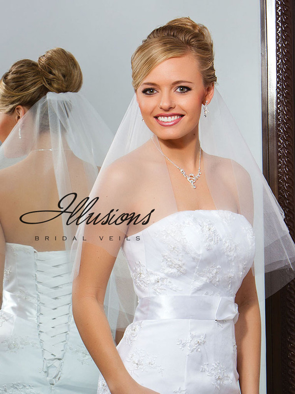 Illusions Bridal Cut Edge Veil C7-252-CT: Pearl Accent