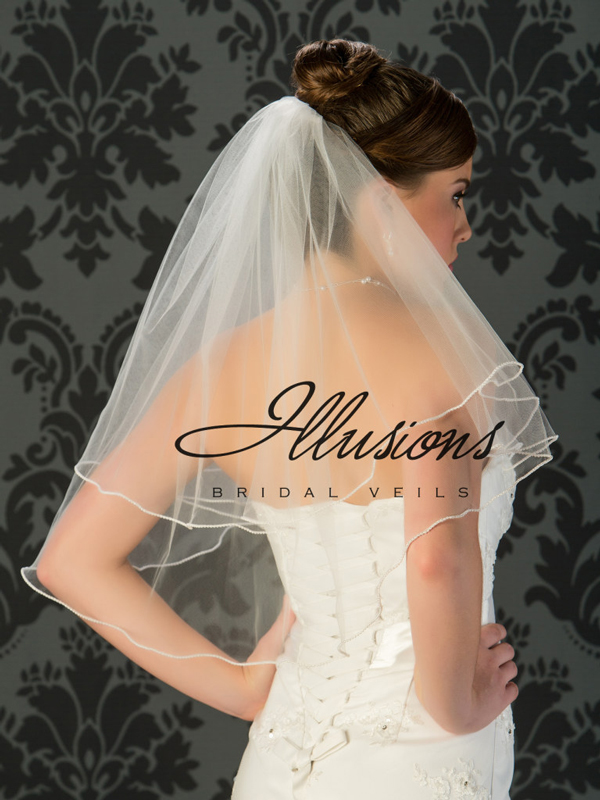 Illusions Bridal Pearl Edge Wedding Veil C7-252-P: Rhinestone Accent, 2 Layer