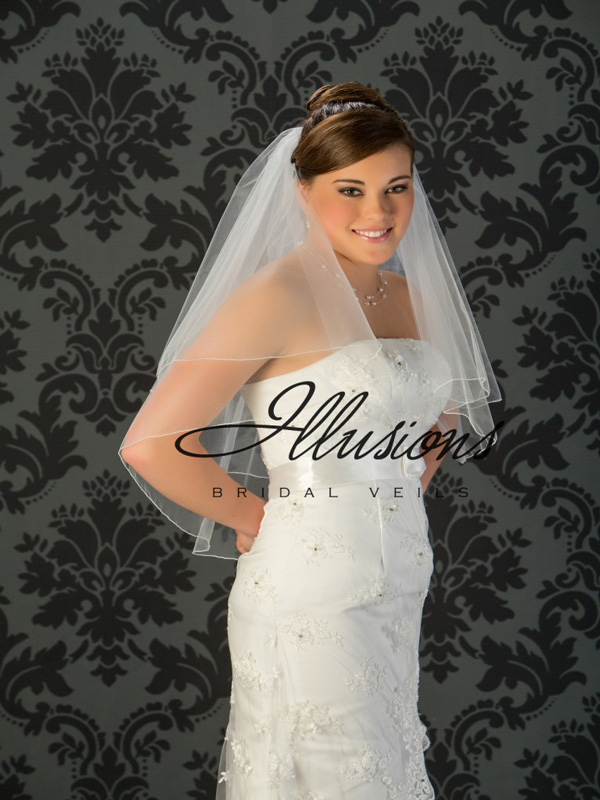 Illusions Bridal Corded Edge Veil C7-302-C: 2 Tier Waist Length, Pearl Accent