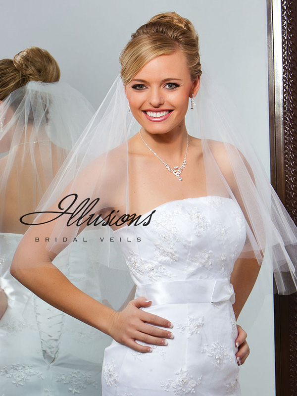 Illusions Bridal Cut Edge Veil C7-302-CT: Pearl Accent