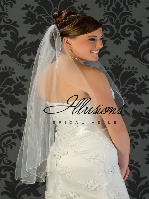 Illusions Bridal Corded Edge Veil C7-361-C: Rhinestone Accent