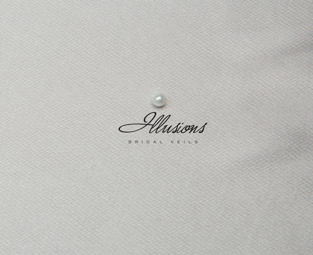 Illusions Bridal Ribbon Edge Wedding Veil C7-362-1R: 2 Layer, Pearl Accent