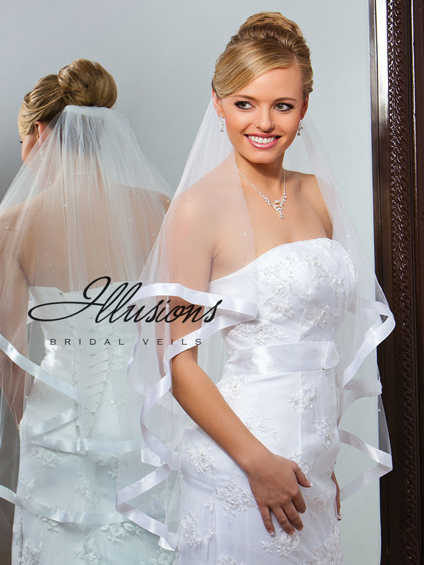 Illusions Bridal Ribbon Edge Veil C7-362-7R-P: Rhinestone Accent