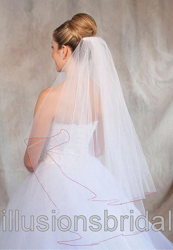 Illusions Bridal Colored Veils and Edges C7-362-C-RD