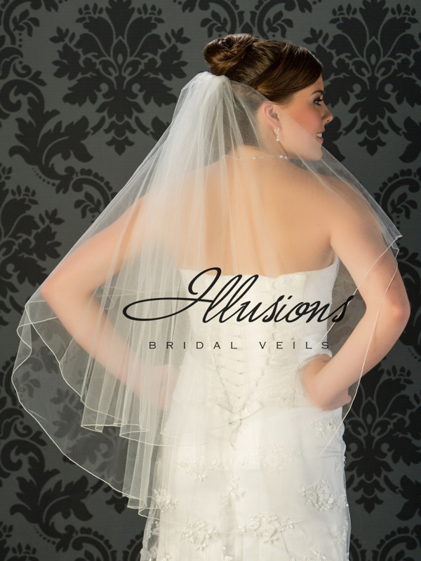 Illusions Bridal Corded Edge Veil: 2 Layer White