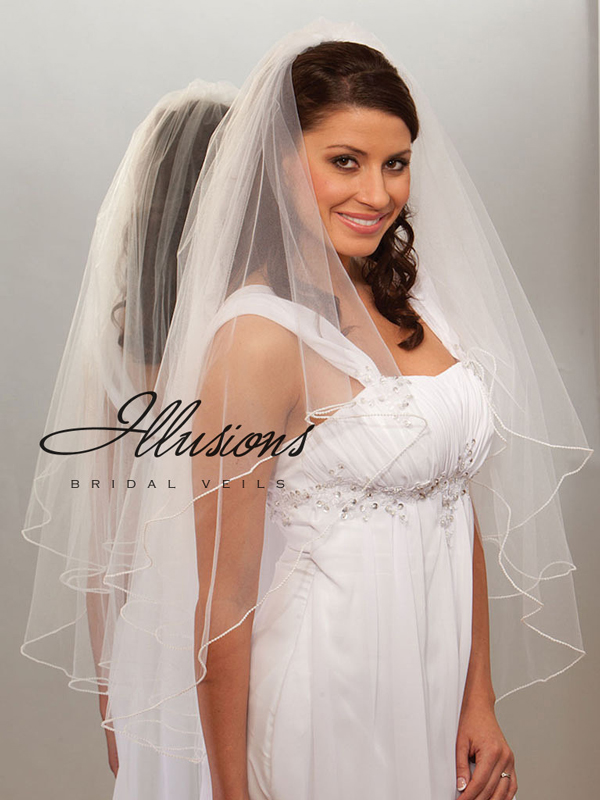 Illusions Bridal Pearl Edge Veil C7-362-P: Rhinestone Accent