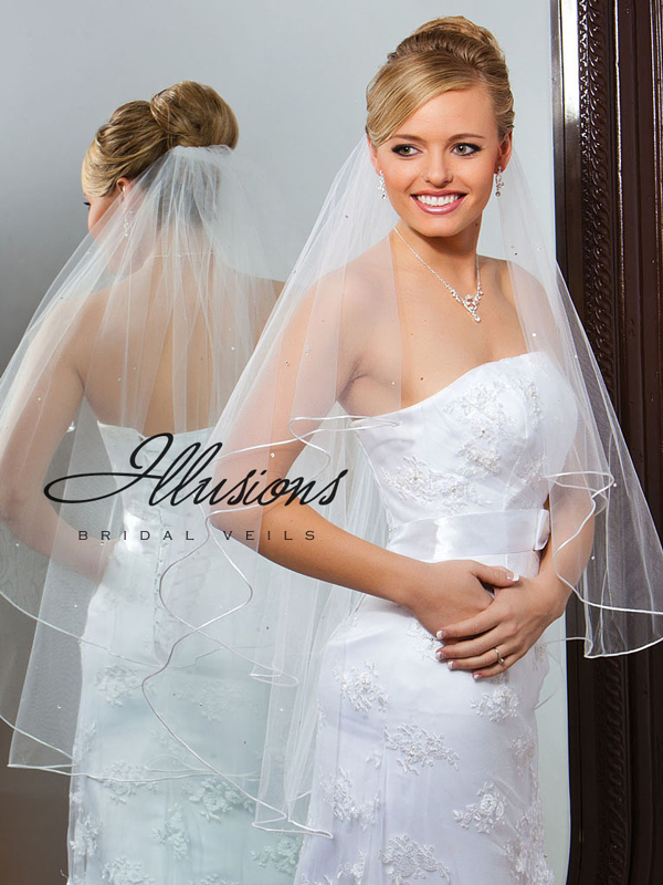 Illusions Bridal Rattail Edge Veil C7-362-RT-RS: Pearl Accent