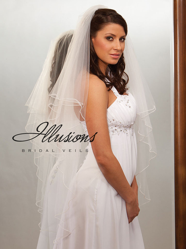 Illusions Bridal Pearl Edge Veil C7-452-P: Rhinestone Accent