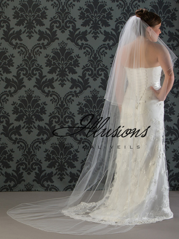 Illusions Bridal Corded Edge Veil C7-902-C: 2 Layer Long, Rhinestone Accent