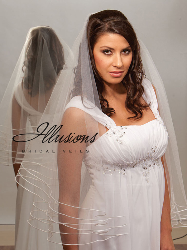 Illusions Bridal Rattail Edge Veil D7-302-TRT: Pearl Accent