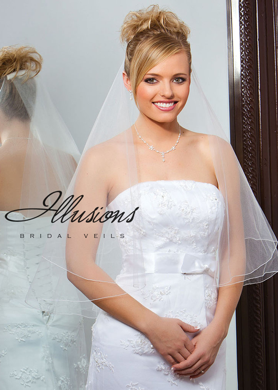 Illusions Bridal Corded Edge Veil FC7-302-C: Pearl Accent