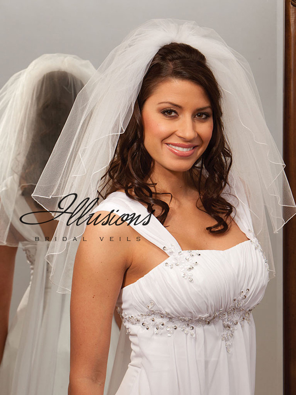 Illusions Bridal Corded Edge Veil S1-202-C: Rhinestone Accent