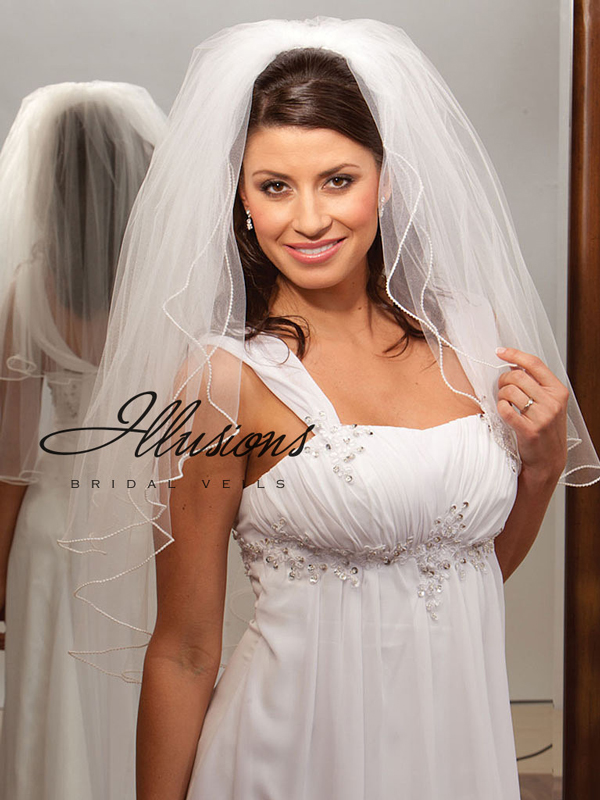 Illusions Bridal Pearl Edge Veil S1-302-P
