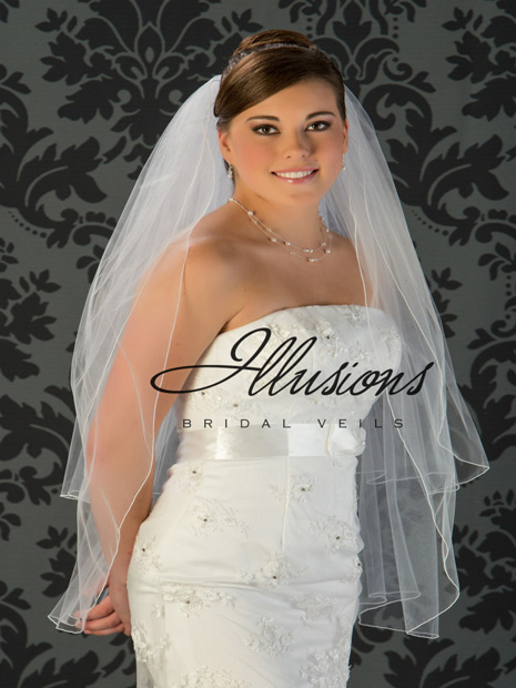 Illusions Bridal Corded Edge Veil S1-362-C: Fingertip Length, Diamond White