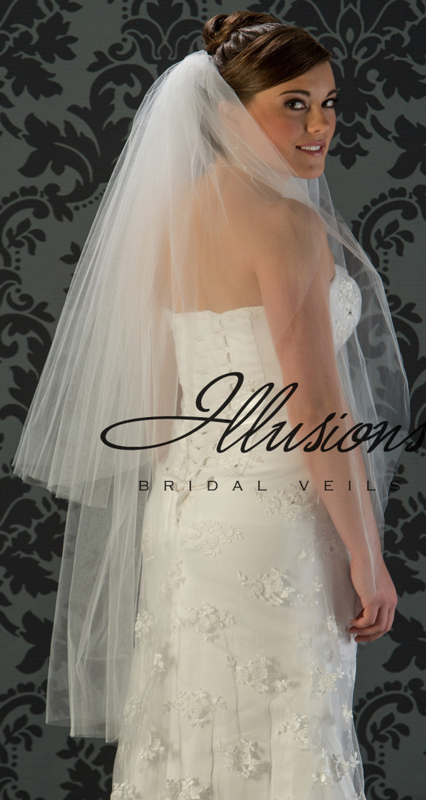 Illusions Bridal Cut Edge Veil S1-452-CT: 2 Layer Knee Length, Pearl Accent