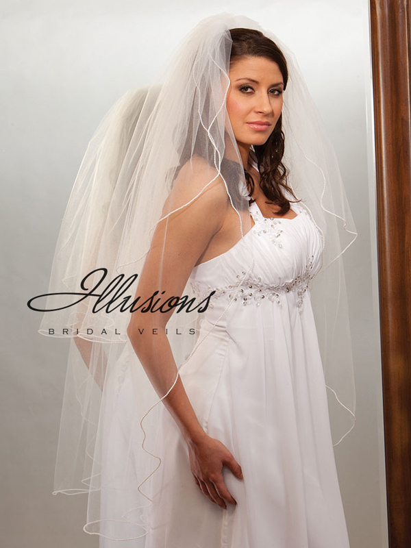 Illusions Bridal Pearl Edge Veil S1-452-P: Rhinestone Accent
