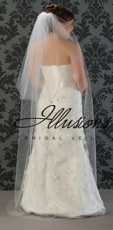 Illusions Bridal Cut Edge Veil S5-722-CT: Pearl Accent, 2 Layer floor Length