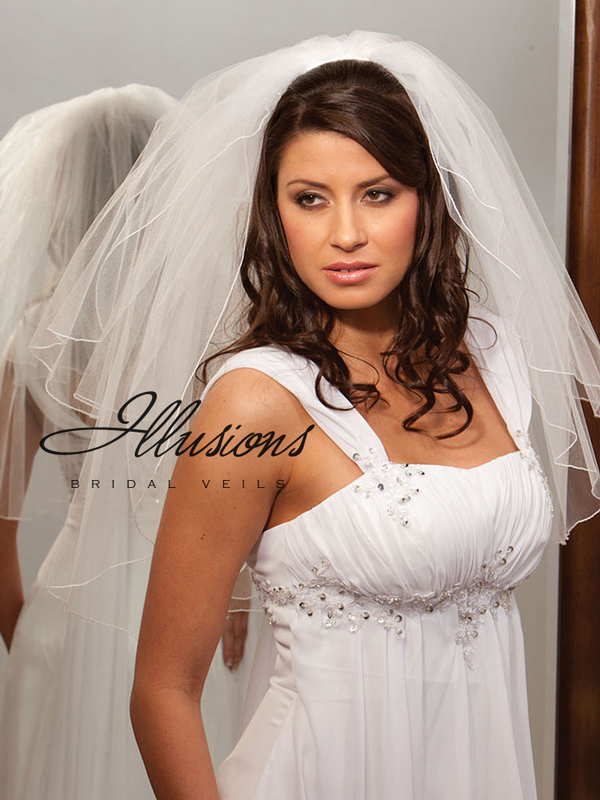 Illusions Bridal Corded Edge Veil S7-252-C: Rhinestone Accent