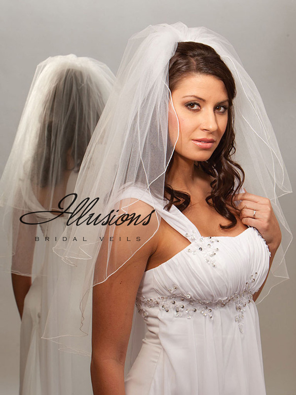Illusions Bridal Corded Edge Veil S7-302-C: Pearl Accent