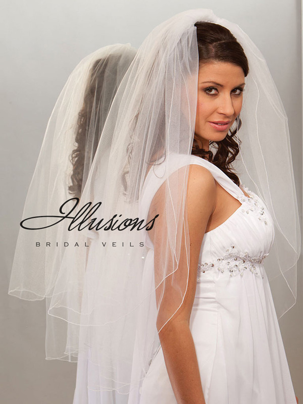Illusions Bridal Corded Edge Veil S7-362-C: Rhinestone Accent