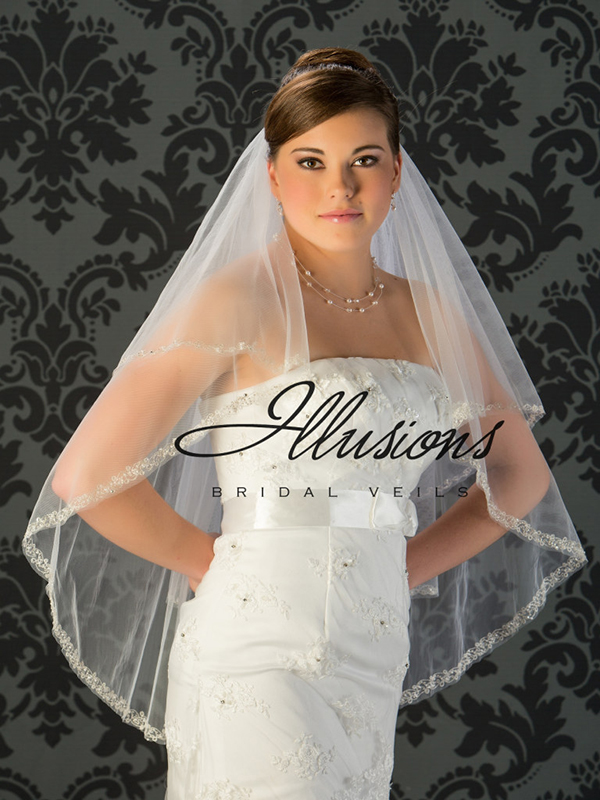 Illusions Bridal Beaded and Specialty Veils V-7026: Silver Edge