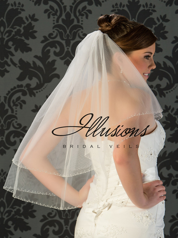 Illusions Bridal Beaded and Specialty Veils with Pearls and Bugle Beads V-773