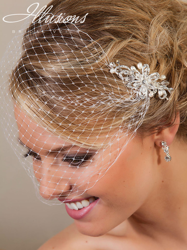 Illusions Bridal Visor Veils with Hair Accessory VS-7002