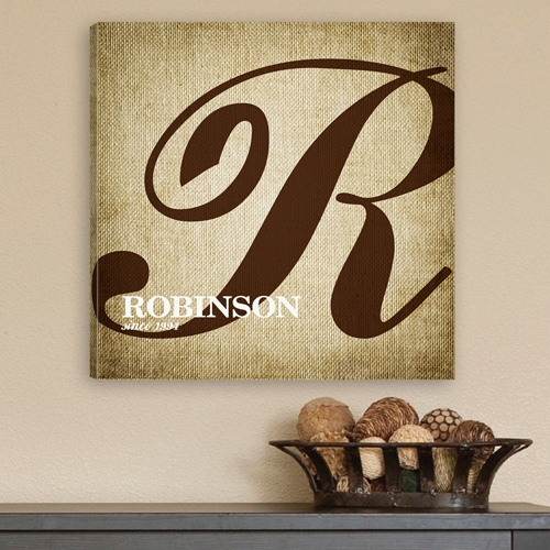 JDS Personalized Canvas Print: Calligraphy Monogram