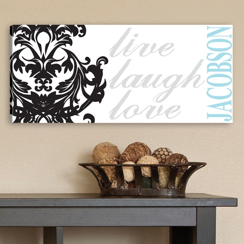 JDS Personalized Canvas Print: Live, Laugh, Love Filigree