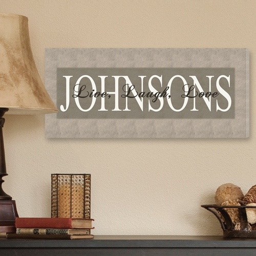 JDS Personalized Canvas Print: Bold, Grey, Live, Laugh, Love