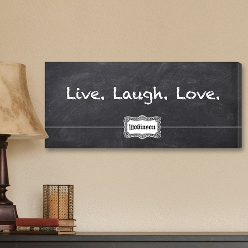 JDS Personalized Chalkboard Canvas Print: Live, Laugh, Love