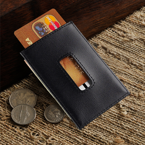 JDS Personalized Money Clip/Credit Card Holder: Leather