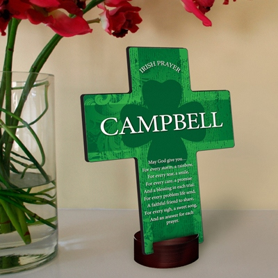 JDS Personalized Cross: Irish Blessing Shamrock